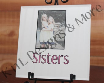 Picture in a Beveled Mirror Hand Painted and Personalized for Father's, Mothers or anyone Special