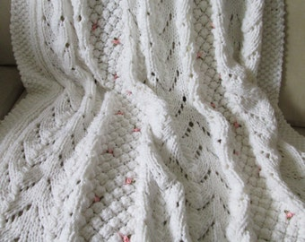 Beautiful White Hand Knit Afghan With Tiny Pink Ribbon Roses