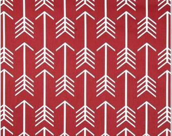 1 Yard Deep Red Arrow Fabric - Premier Prints Timberwolf Red and White Twill Arrow Fabric ONE YARD