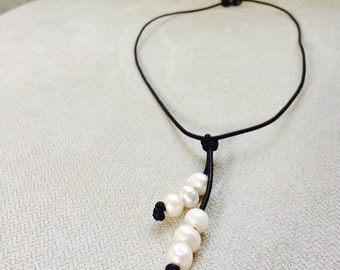Leather pearl waterfall necklace