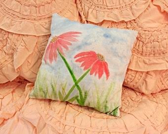 Handmade Flower Throw Pillow