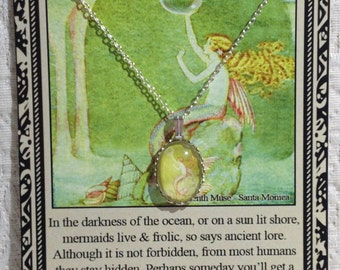 Mermaid Charm Necklace on Poem Card