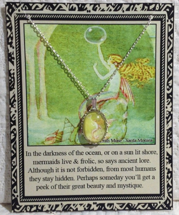Mermaid Charm Necklace on Poem Card
