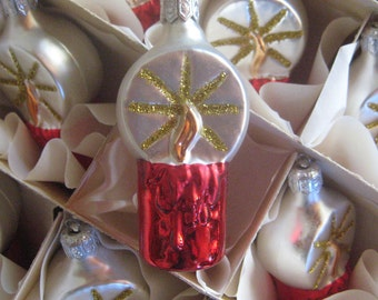 12 Vintage Poland Christmas Candle Ornaments Original Box Hand Blown Glass Made In Poland  Old Store Stock