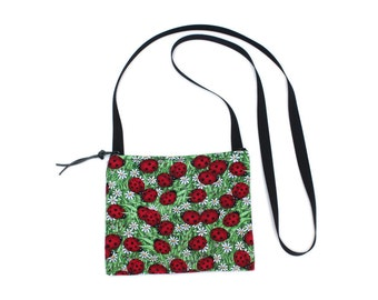 Mini crossbody bag - Ladybug fabric  perfect for travel or a night out!