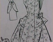 Vintage Bib Full Size Apron Pattern 40s Details Sewing Fabric Project Size Large  APR 8049