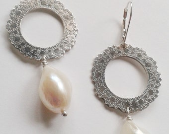 Silver Etched Doily Drop Earrings with White Baroque Freshwater Pearls