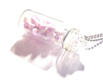 Necklace SOFTIE -- Miniature glass candy jar, with fimo soft candy Pink / White by The Sausage