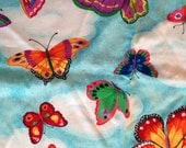 Vitnage Butterfly Large Butterflies on Blue Sky Rainbow Colors Cotton Fabric