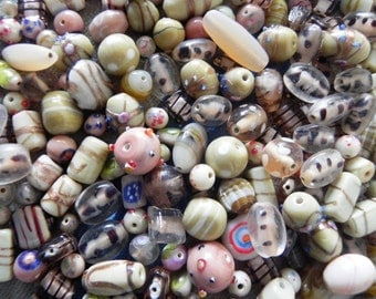1 Pound vintage style supper delux handmade cream colour combination LAMPWORK glass bead mix ONE POUND.