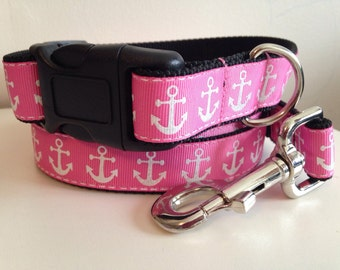 1 inch Pink Sparkle Anchors Leash and Collar Set