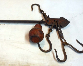 Vintage Metal Steelyard Balance Scale Hooks & Cast Iron Weight Lbs 20-100 Pounds Tool Found Object Display