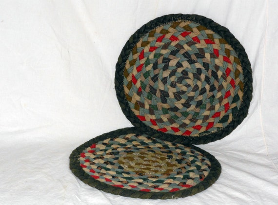 Braided Rug Chair Pads Wool Set Of Two 14 Rustic Circles