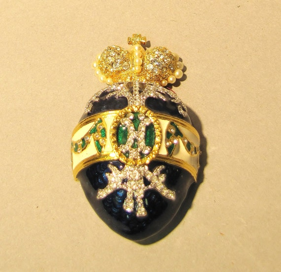 Collectible Joan Rivers Faberge Egg Gold Tone Enameled Brooch