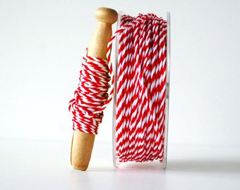 Red & White Twisted Rope Ribbon 1/16 Inch 10 yards Wrapping Twine Ribbon Gift Wrap