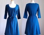 Womens Dress Cotton jersey 3/4 sleeve Dress scoop neck loose fit aline summer dress knee length shift dress spring jumper Made to Order