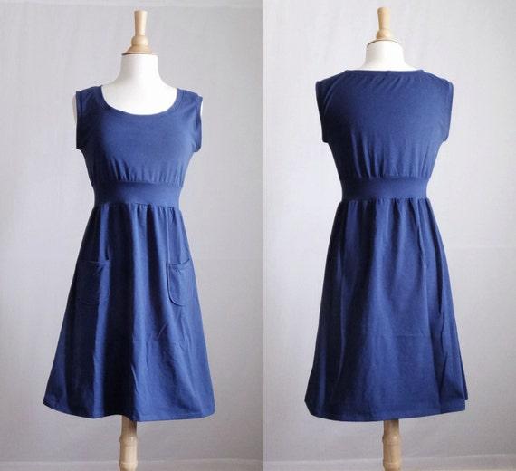 Navy cotton dress Women's knee length jumper empire waist sleeveless sundress Pocket Dress holiday party modern scoop neck Made to order
