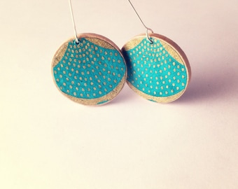 Moroccan Textiles Earrings- Gold and Turquoise  Yuzen Paper On Turquoise Patina Metal or Wood Disk