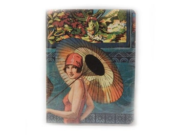 Canadian Passport Cover - Retro Bathing Beauty  - tropical island girl beach theme passport holder