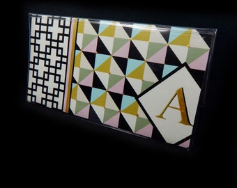 personalized Checkbook Cover - Modern Diamonds Mix  - geometric check book holder - initial - moss, pink, black, gold