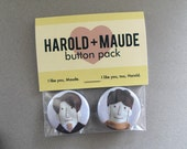 Harold and Maude Pinback Button Pack - Free shipping!