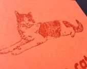 Letterpress orange cat postcard