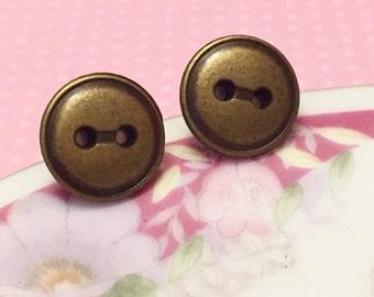 Metal Button Studs in Antique Gold Color, Sewing Button Earrings, Vintage Button Studs, Button Jewelry, Best Friend Gift Idea
