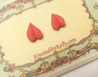 Pink Leaf Studs, Coral Leaf Earrings, Little Peach Leaf Studs, Hippie Earrings, Bohemian Stud Earrings, Nature Stud Earrings
