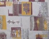 Vintage Atomic 50s Barkcloth Fabric - Eames Era Abstract