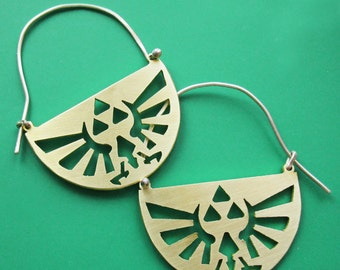 Legend of Zelda Triforce Hylian Crest Hoop Earrings