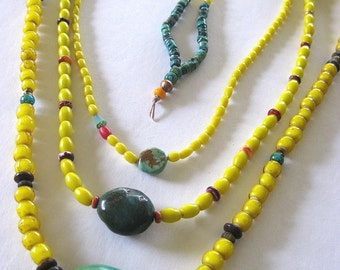 Turquoise Bead, Long Necklace, Trade Beads, African Bead, Spiney Oyster, Southwestern, Yellow Glass, Layering Necklace, Tribal, Boho Jewelry