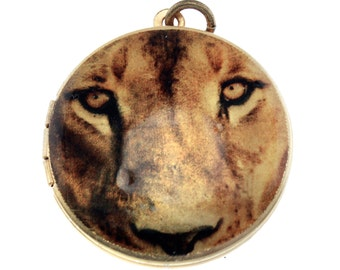 Photo Locket, Image Locket, Art Locket, Picture Locket, Brass Locket - BIG CATS - Lion