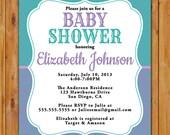 Purple Teal Baby Shower Invite Damask Polka Dots Baby Sprinkle Girl Boy Gender Neutral Twins Printable Invitation 5x7 Digital JPG (441)