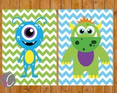 Instant Download Monster Wall Art Decor Nursery Childs Boys Room Green Blue Wall Decor Set of 2  DIY Printable 5x7 Digital JPG Files  (59)