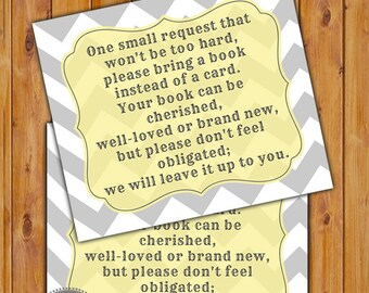 In Lieu of card, Book Baby Shower Invitation Inserts Instead of a card Grey Yellow Chevron Printable PDF--Instant Download