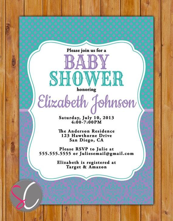 purple teal baby shower invite damask polka dots baby sprinkle girl