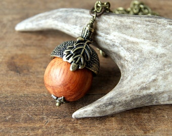 Wooden Acorn Necklace - Antiqued Brass Acorn Cap - Acorn Necklace - rustic acorn necklace - Woodland Wedding