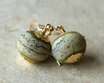Lampwork Glass Earrings - Glass Earrings - lampwork glass bead earrings - Glass Drop Earrings - gold filled findings