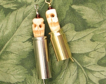 Blessing Bell - made with Carved Skull Bone Beads - Bell made from Bullet Casing - Bullet Bell
