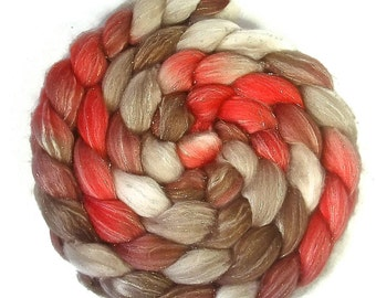 Handpainted Glitter Roving Superwash Merino/Gold Stellina - 4 oz. CHERRY COLA - Spinning Fiber