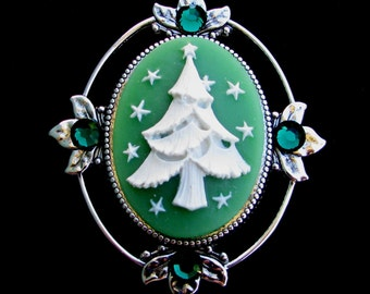 Christmas Tree Cameo Brooch Pin with Sparkling Crystals