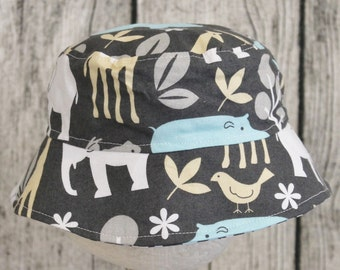 Kids Child Children Reversible Fabric Bucket Hat Zoo Gray Jungle Animals