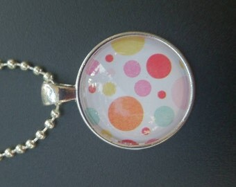 Glass pendant necklace - pastel dots - silver -round