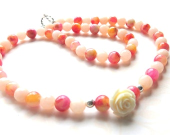 Long Pink Jade Beaded Necklace,  Pink and Peach Gift for Her, Carved Rose Necklace, Pretty Pink Jade and Sterling Silver Clasp, Mother's Day