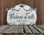 BIRTH ANNOUNCEMENT Sign, Shabby Chic Name Sign, Baby Name Sign, Vintage Inspired Nursery Decor, Baby Shower Gift, Newborn Sign, New Baby