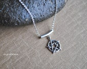 PENTAGRAM all sterling silver pendant slide necklace length and clasp choice by srgoddess