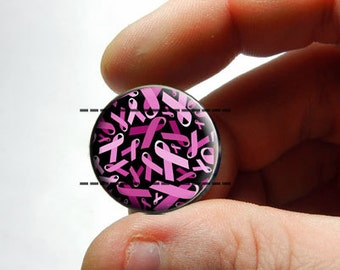 Glass Cabochon - Breast Cancer Awareness - for Jewelry and Pendant Making