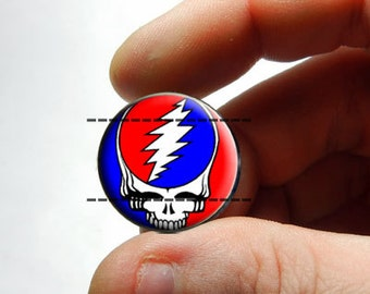 25mm 20mm 16mm 12mm 10mm or 8mm Glass Cabochon - Grateful Dead Head - for Jewelry and Pendant Making