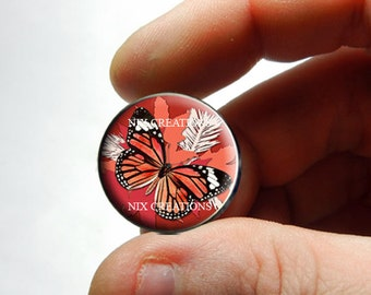 Glass Cabochon - Red Monarch Butterfly - for Jewelry and Pendant Making