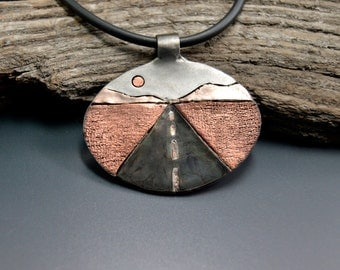 Road Trip Necklace Route 66 is a Mixed Metals Pendant Handcrafted by California Artist